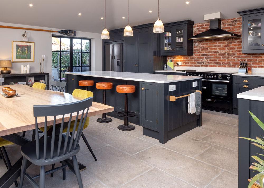grey flagstone kitchen floor